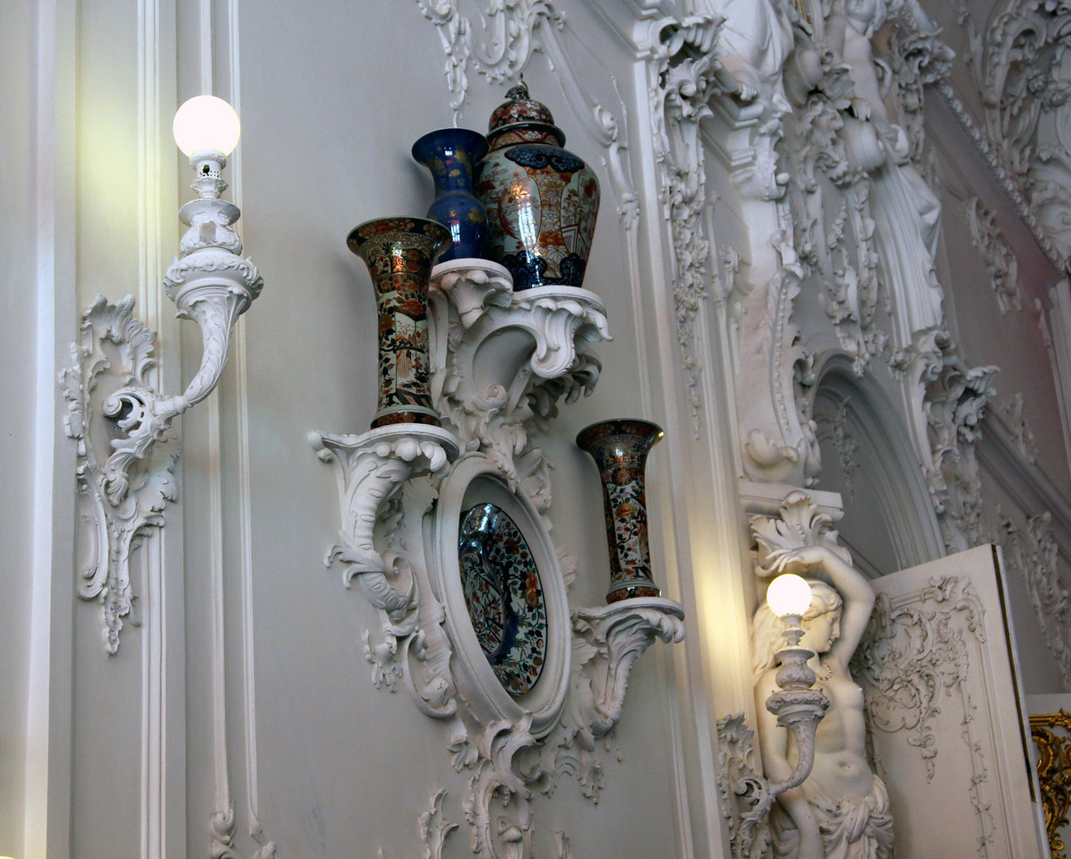 Catherine Palace - Vases on the wall of the State Staircase.