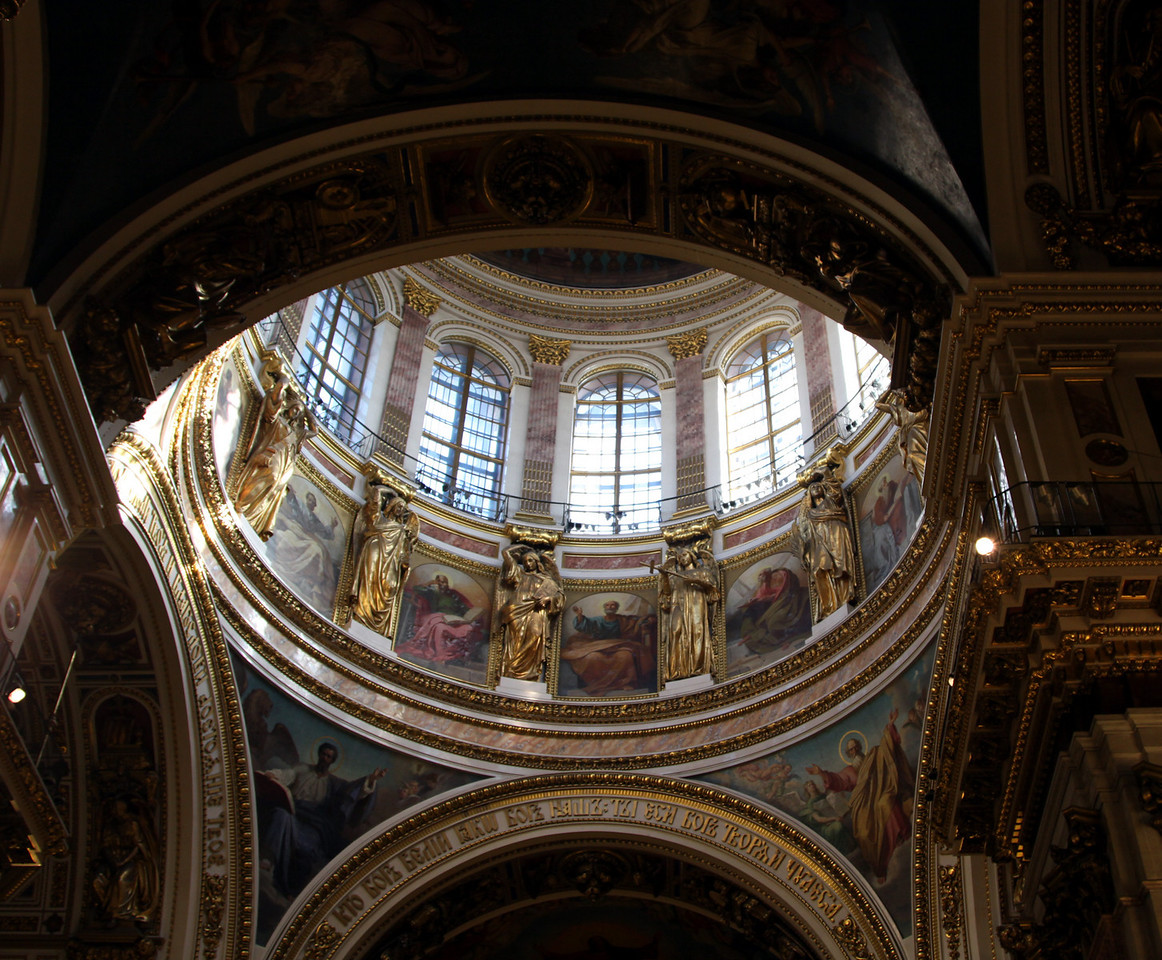 Inside of the main dome of St Isaac's Cathederal.