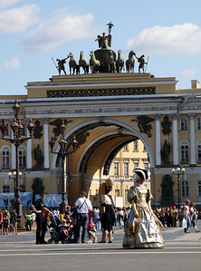 The central arch of the General Staff Building. The building was designed by the Italian architect Carlo Rossi.  On top of the arch is the Chariot of Victory, another monument to the Napoleonic Wars.