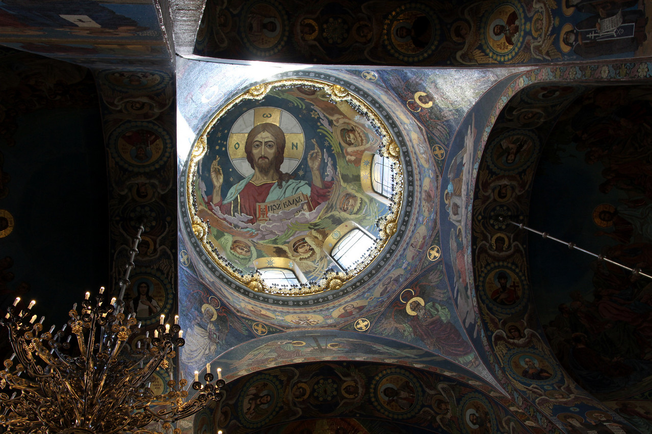 Interior of the Church of the Saviour on Spilled Blood showing the mosaic on inside of the main (onion) dome..