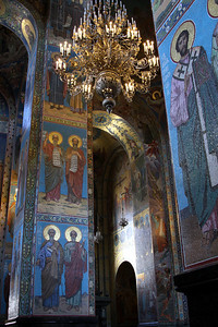 Interior of the Church of the Saviour on Spilled Blood showing some of the intricate wall mosaics.