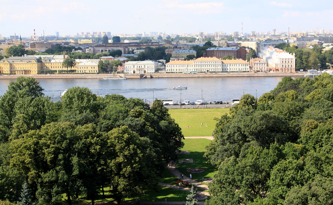 View from the Colonnade of St Isaac's Cathedral - View across the Neva river.