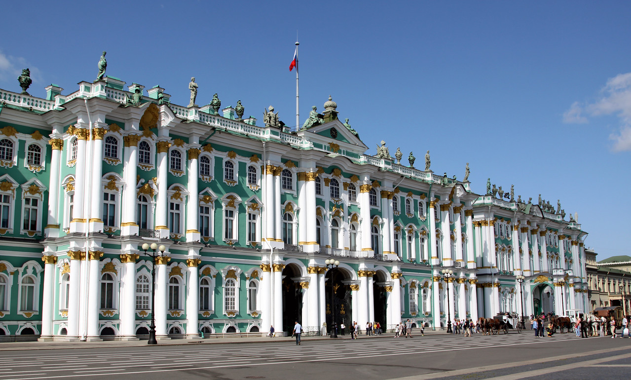 The Winter Palace was commissioned in 1754 by Catherine the Great and was an imperial palace for the Tsars until the Bolshevik revolution in 1917.  The Winter Palace is now part of the Hermitage Art Museum.