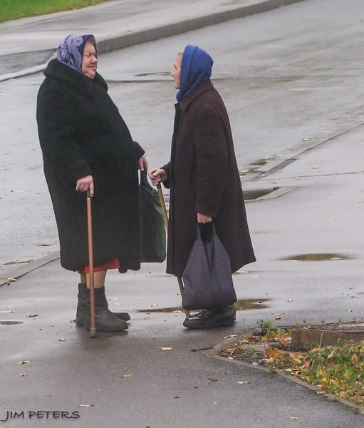 Talking it over on a St. Petersburg Street