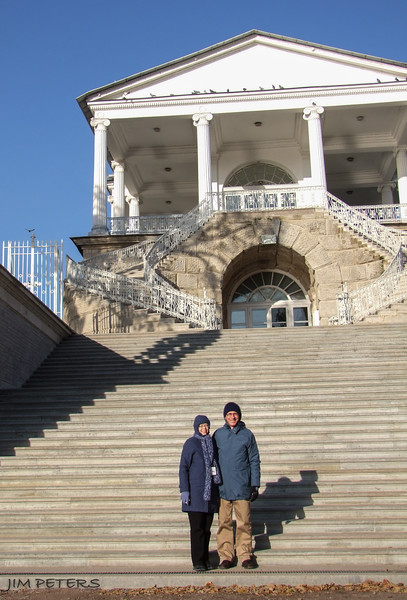Jim and Jan on a cold day at Tsarskoye Selo (Summer Palace of Catherine the Great)
