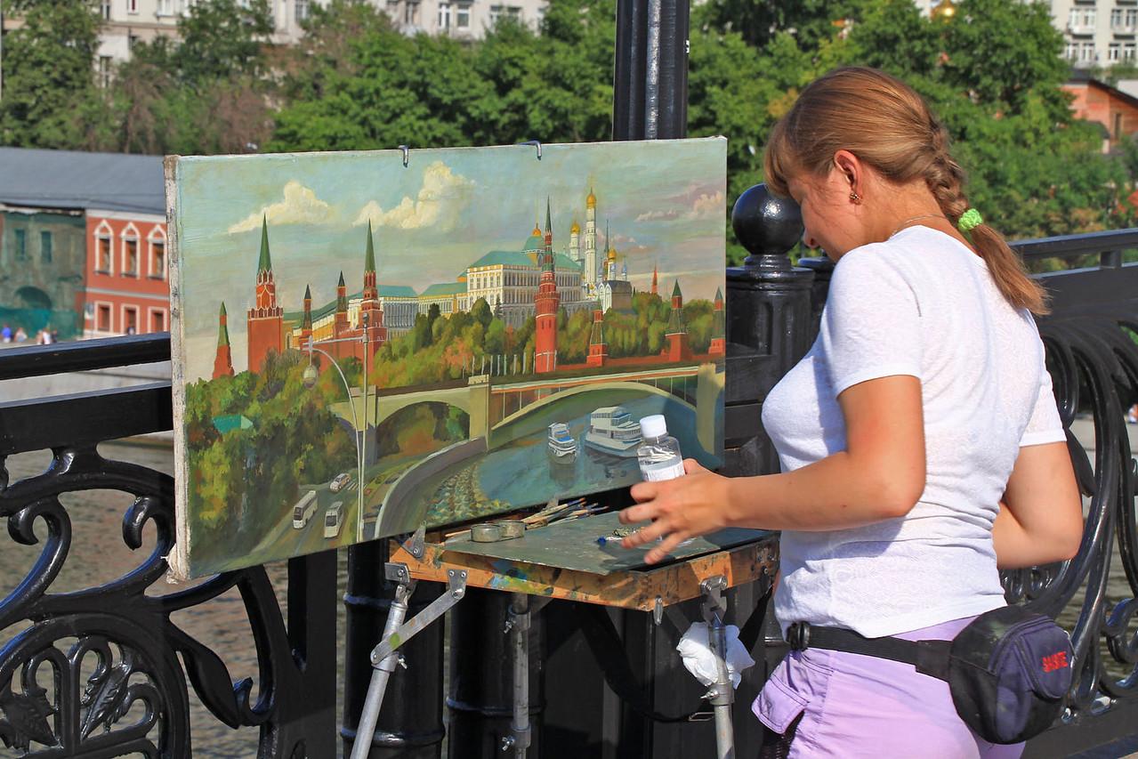 Artist on Foot Bridge