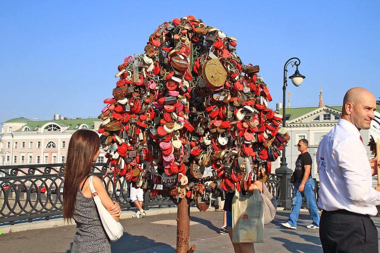 Sweetheart Lock Tree on Foot Bridge