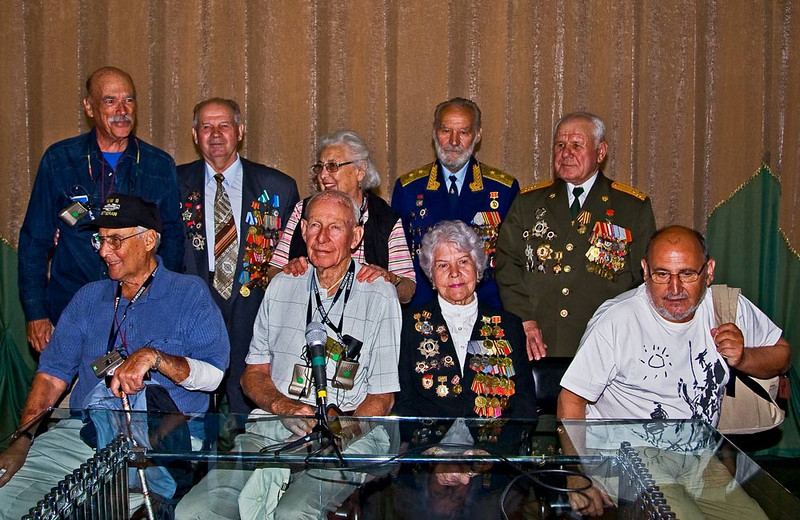 Russian WWII veterans aloong with American Veterans at the War Museum.