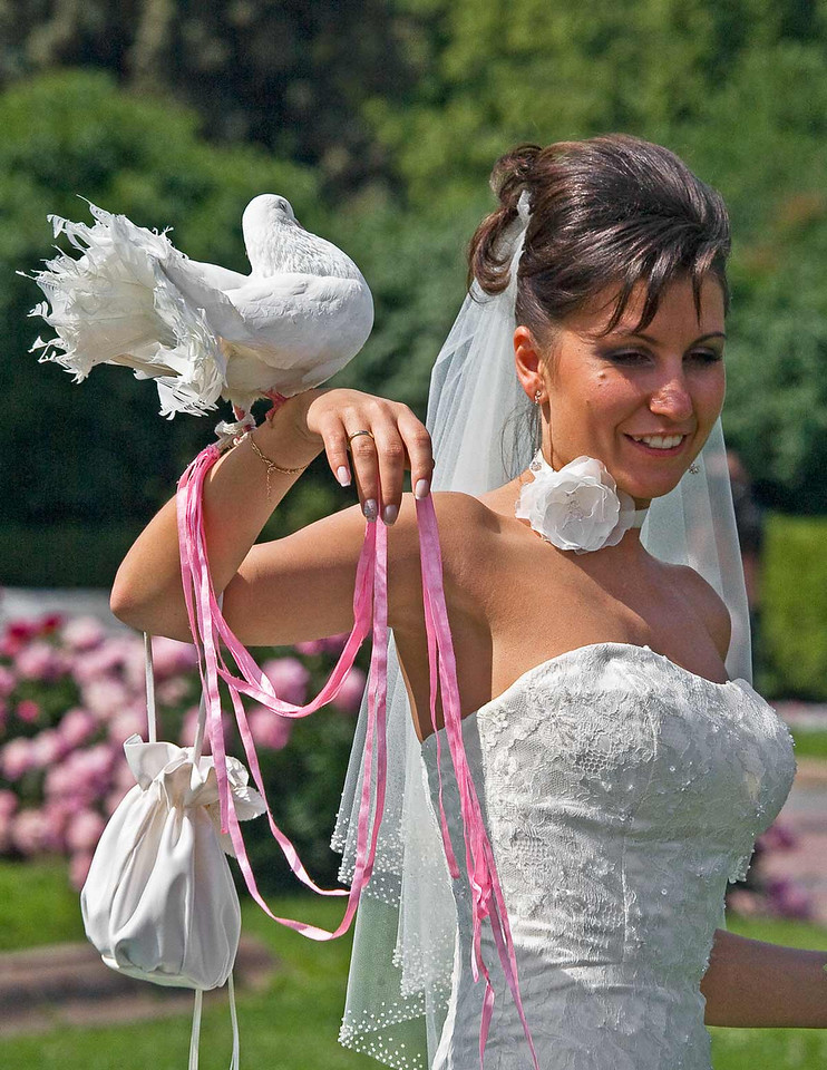 Bride with bird on hand.