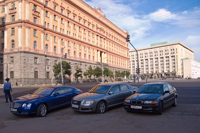 A Bentley, an Audi, and a BMW in front of the KGB building at Lubyanka.  Looks like capitalism won...