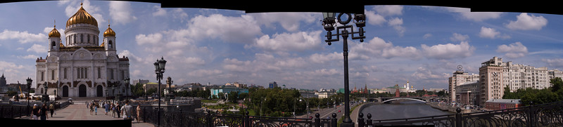 Moscow river, Kremlin and Christ the Savior Cathedral panorama
