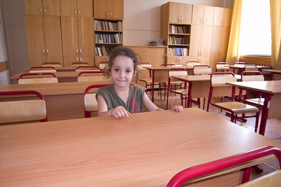 Schkola 57, Moscow Rebecca at my old classroom (the desks are new of course)