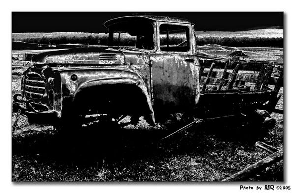 Abandoned car, Khuzhir, Olkhon Island.  This photo has been treated with a solarization filter.