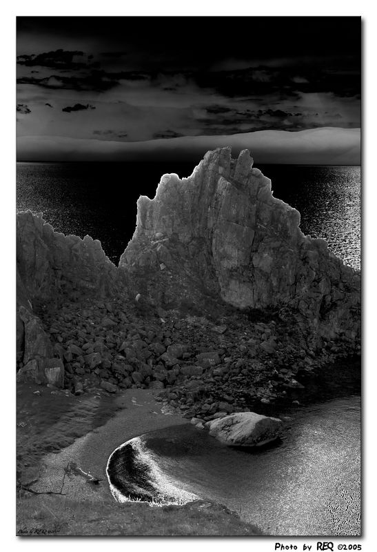 A solarized view of shaman's rock. Other than the solarization filter the image hasn't been manipulated.