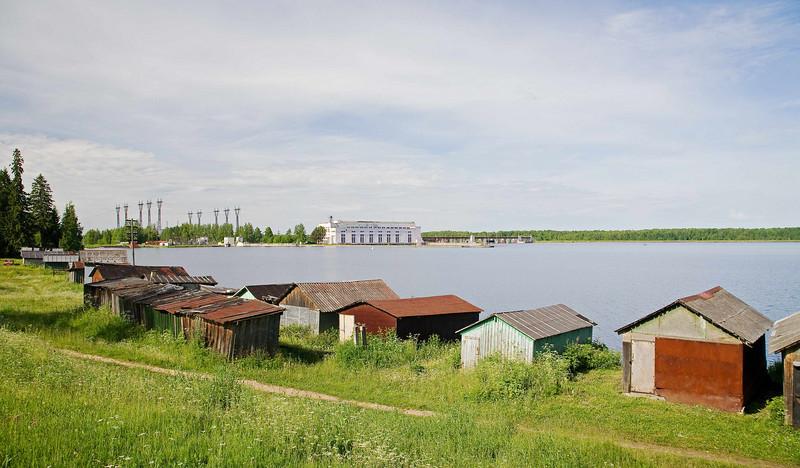 Svirtrog Reservoir/Hydroelectric and village.