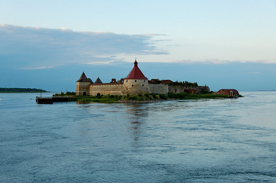 Schlusselburg Fortress (1323), Neva River, entrance to Lake Ladoga, Russia.