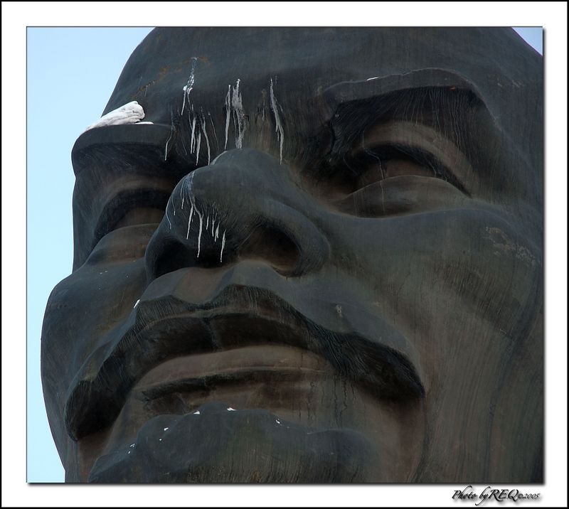 Close-up on Lenin.