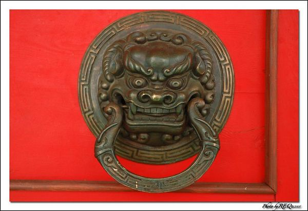A door handle at the Tibetan Buddhist Datsan at Verkhne-Beriozovkii.