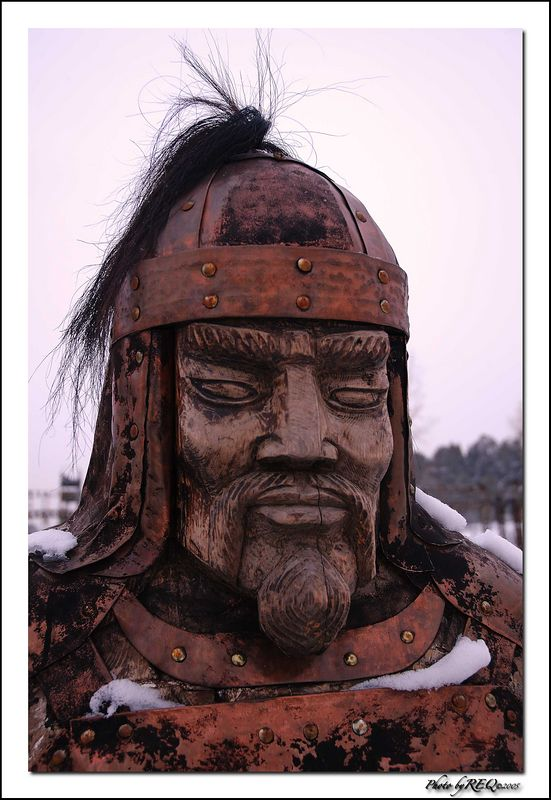 A wooden statue of a warrior at the yurt restaurant in Verkhne-Beriozovkii.