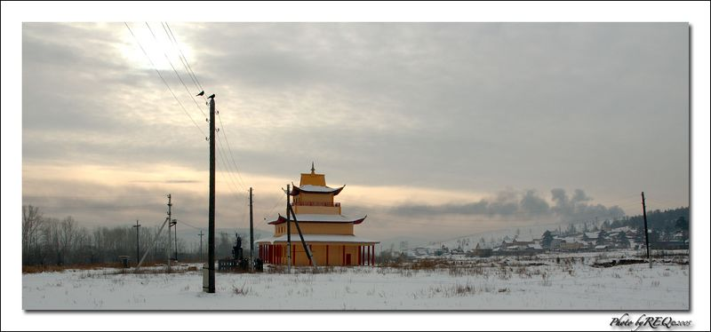 The Datsan at Verkhe-Beriozovkhi in winter.