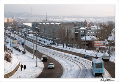 The view of Ulitsa Kommunisticheskaya from Victory Prospect in downtown Ulan-Ude.