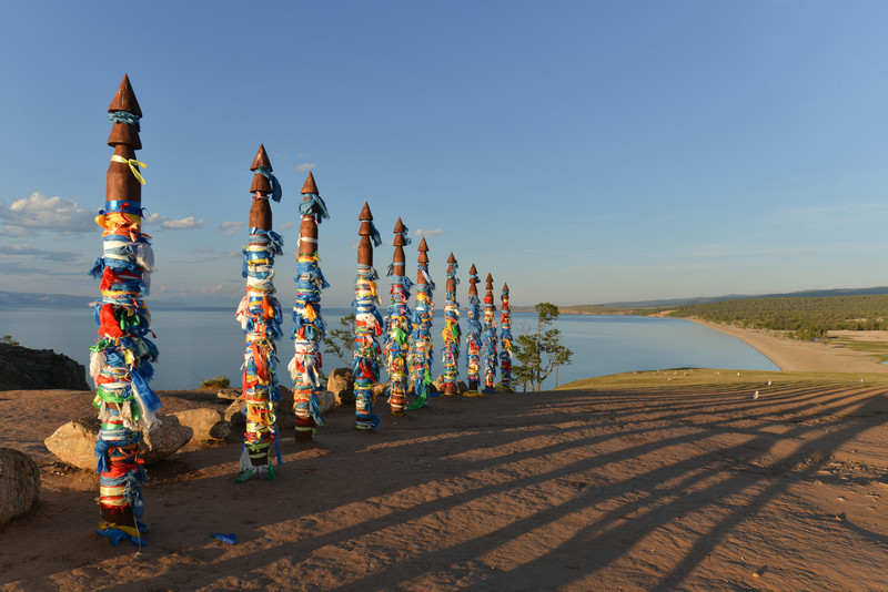 Buryat traditional pagan holy poles by Lake Baikal
