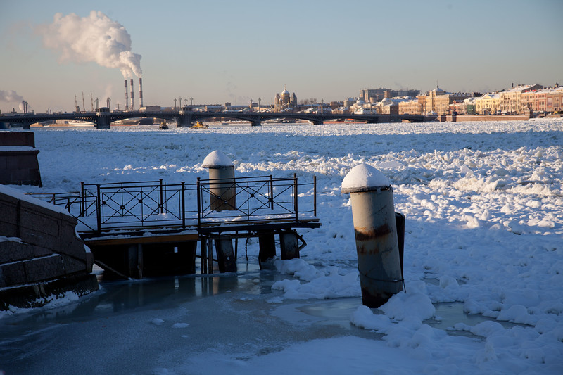 The Neva river freezing up for winter. Saint Petersburg, Russia.