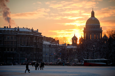 Looking across Palace Square to Saint Issac's Cathedral in Saint Petersburg, Russia.
