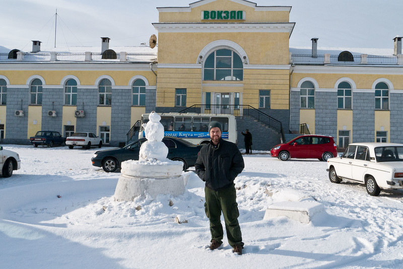 Me standing in front of the train station at the Russian border. No, I didn't build the snowman.