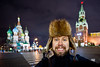 A photo of me standing in Red Square in Moscow wearing my grandfather's hat.  As promised.