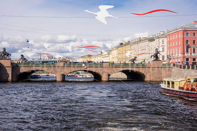 Anichkov Bridge on Nevsky Prospekt, the main street of St Petersburg