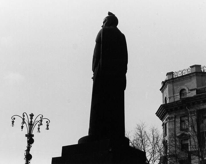 Statue in Moscow - I don't remember of whom - which the artist designed so that, when viewed from this angle, it looked like the man was taking a leak.