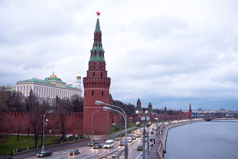View of the Kremlin from a bridge over the Moscow river.
