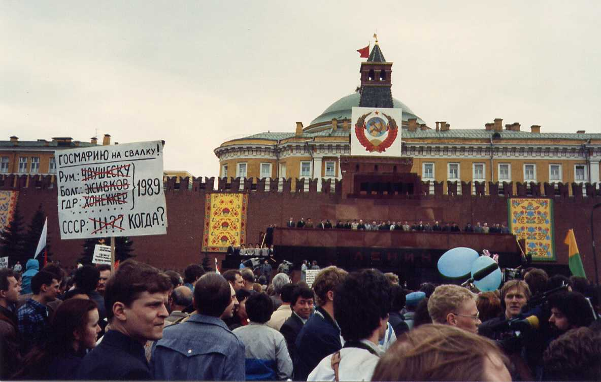 May Day 1990 - Gorbachev & Co. are standing atop the Lenin mausoleum, miffed at the unexpected protests