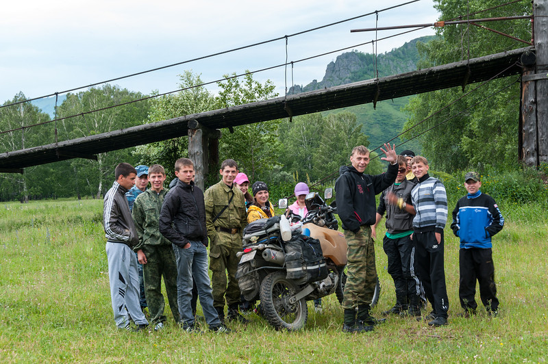 A local Scout group take an interest in Daisy. Altai Republic, Russia