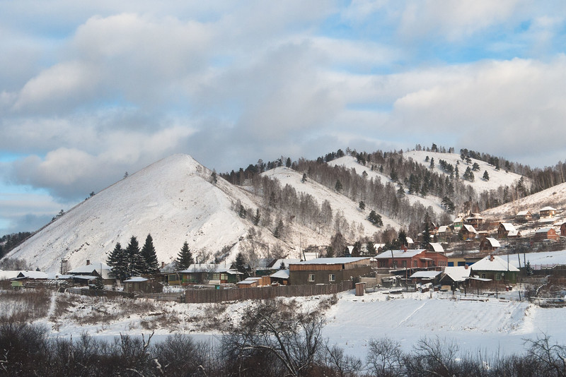 The Siberian countryside as seen from the train from Irkutsk to Moscow.