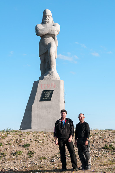 With Artem at the only statue of Yermak Timofeyevich in Siberia. Surprising, given that it was the Cossack that claimed Siberia for Russia in 1582