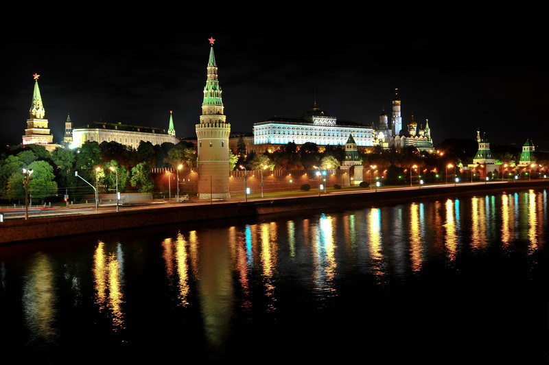 Moscow Kremlin as seen from the Moscow River at night.