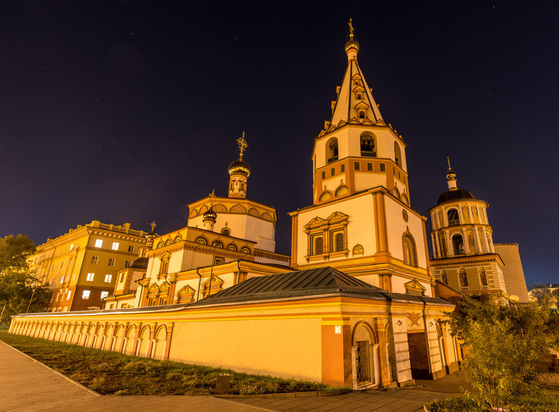 Cathedral of the Epiphany, Irkutsk, Russia at night