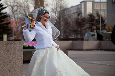 A bride and groom having wedding photos taken in Irkutsk, Siberia.