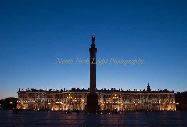 The Palace Square looking back at the Hermitage at twilight.