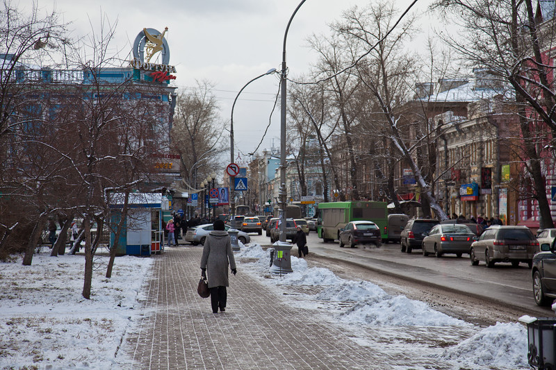 The streets of Irkutsk, Siberia. Population about 600,000.