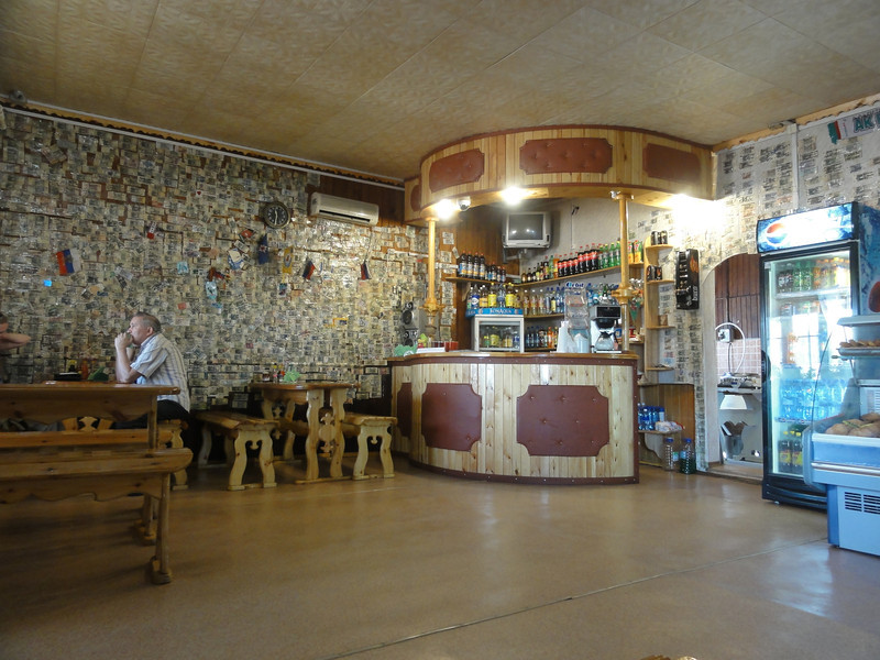 Trans Siberian Highway cafe. This one decorated with currency. Russia