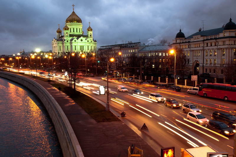 View of Christ the Saviour Cathedral from a bridge over the Moscow river.