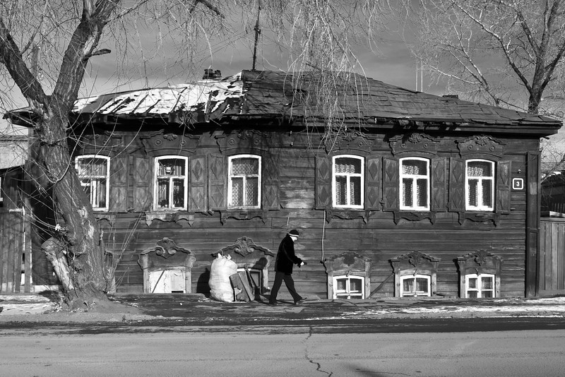 Sinking wooden houses in Irkutsk, Eastern Siberia.