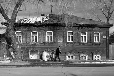 Sinking wooden houses in Irkutsk, Eastern Siberia.