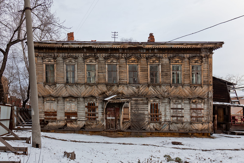 Irkutsk is famous for it's decorative wooden houses. Many were destroyed in a fire that devestated the city, but there are still many that survived and are in various states of repair. Siberia.
