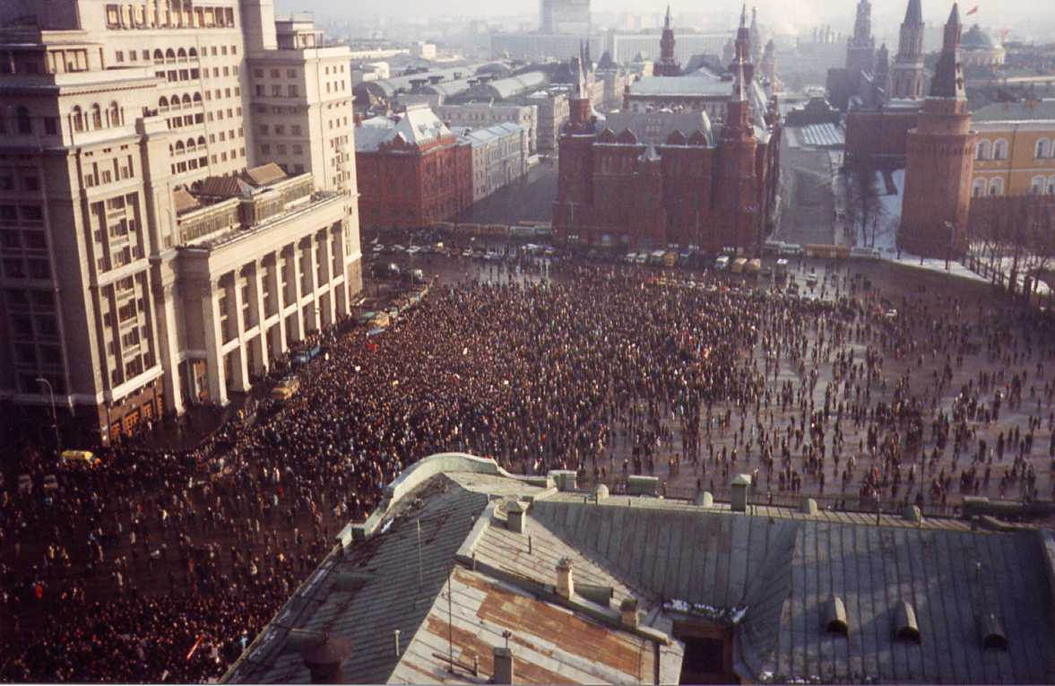 Huge protest in Moscow, February 1990.