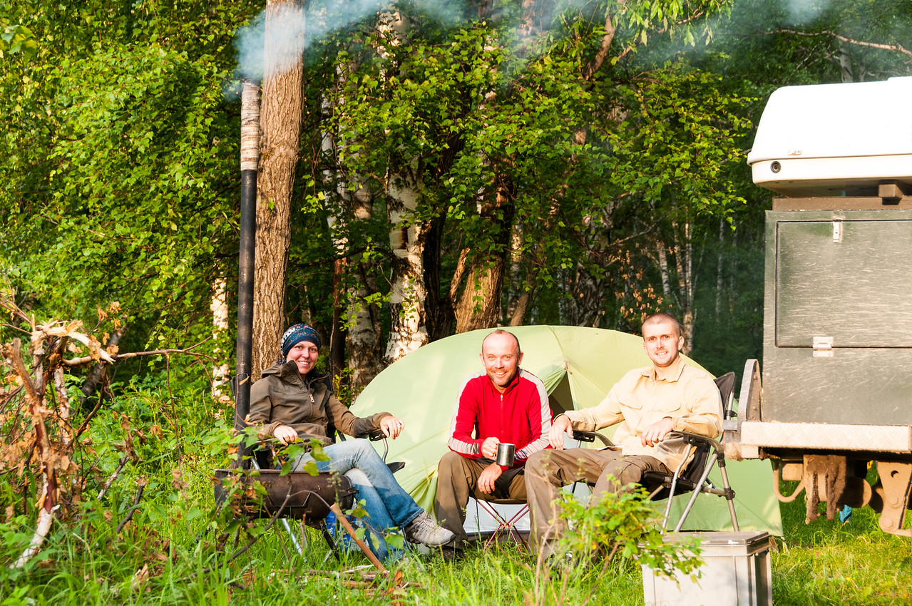 Camping with Griff, Lisa and their wood burning stove. Nr Sentelek, Altai Republic - Russia