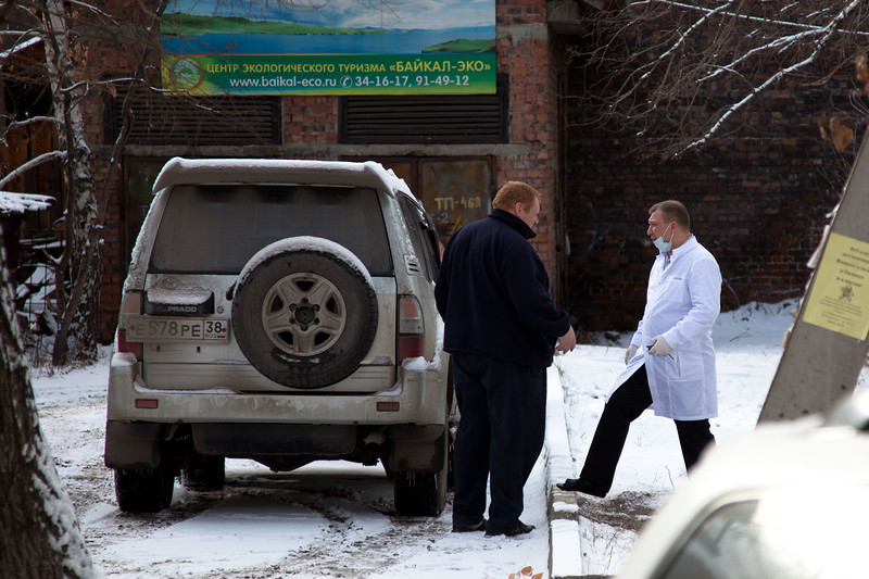 A scene outside a dental surgery in Irkutsk, Eastern Siberia.